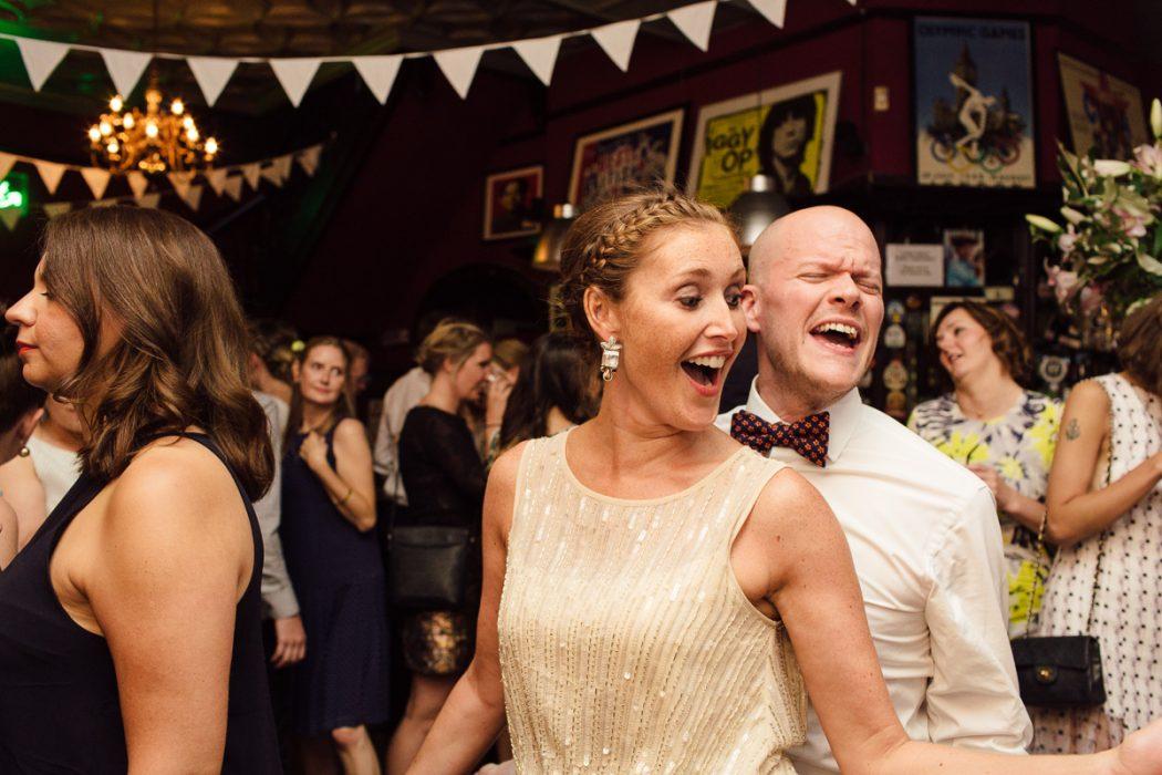 dancing in london pub at wedding