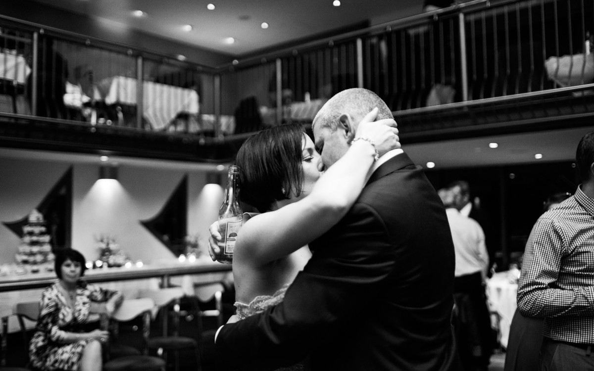 wedding reception kiss in Essex photograph