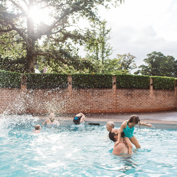 Maison Talbooth pool wedding