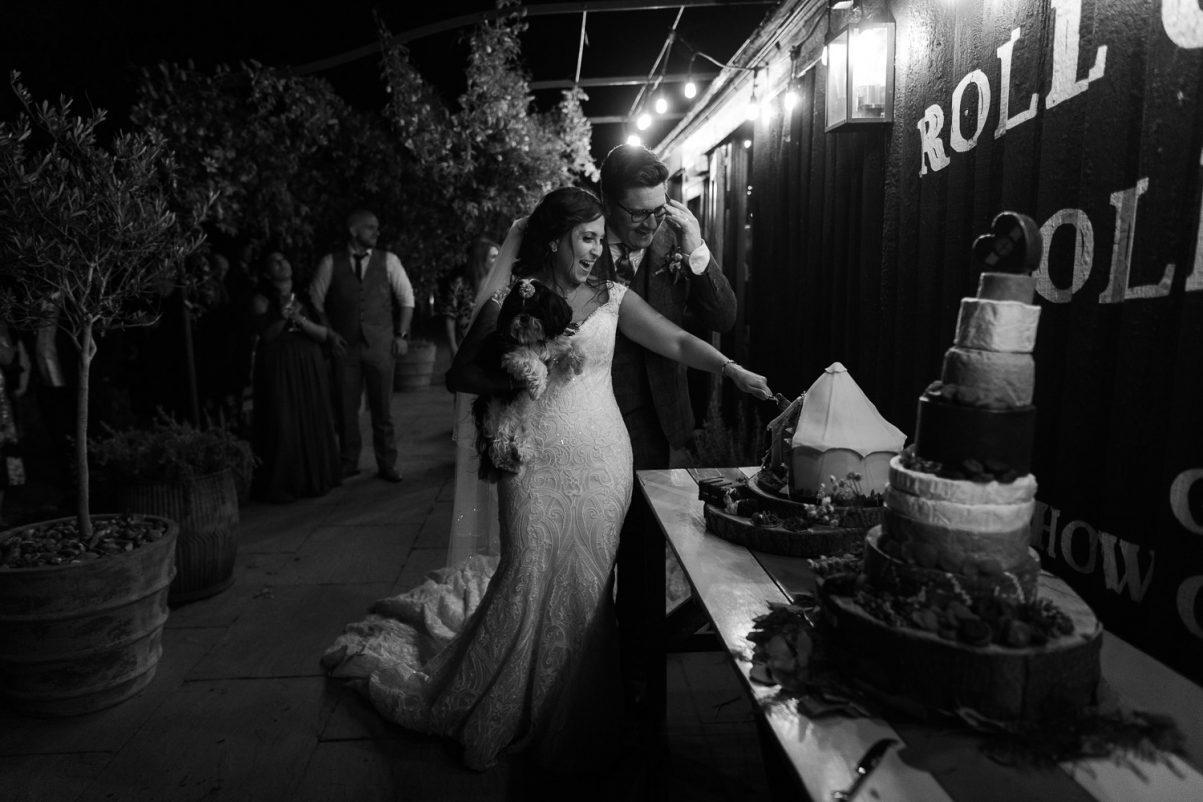 bride, groom, and dog cutting cake at Preston Court wedding